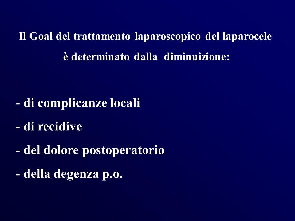 Il Goal del trattamento laparoscopico del laparocele è determinato dalla diminuizione: - di complicanze locali - di recidive - del dolore postoperator