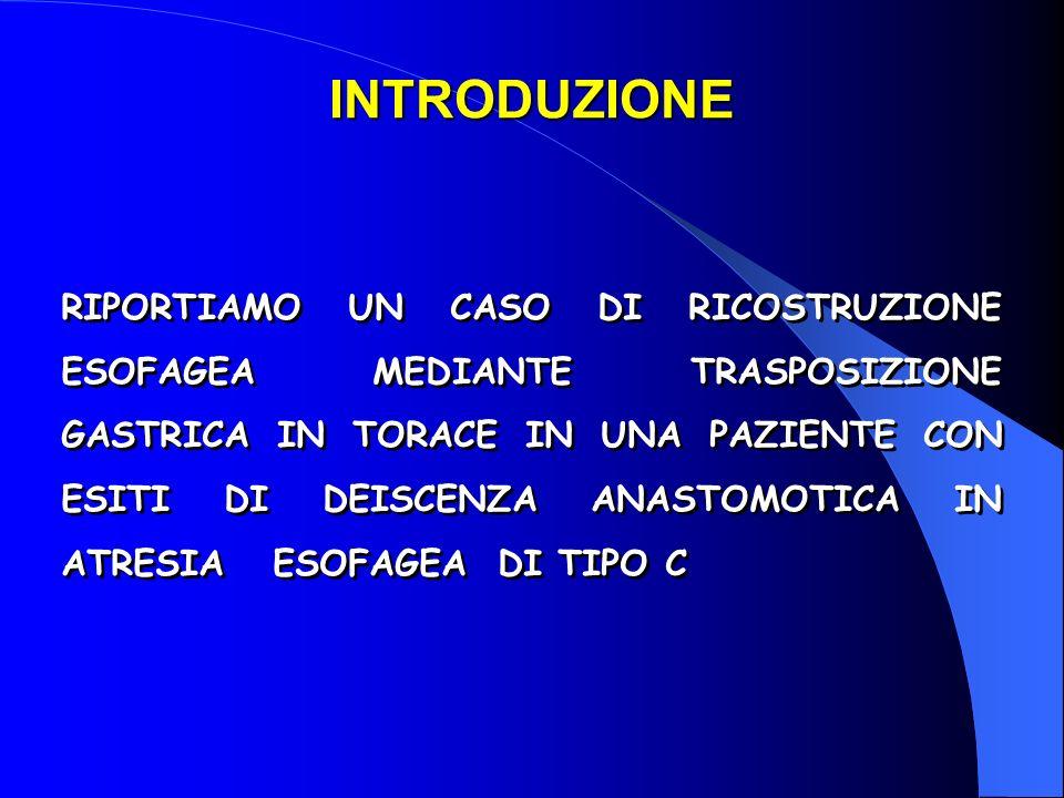 G.B., Femmina, Atresia esofagea di tipo C Intervento: 1 a giornata di vita( presso altra struttura Ospedaliera): chiusura della fistola T-E; anastomosi primaria E-E 16 a gg.: deiscenza dellanastomosi esofagostomia cervicale destra; gastrostomia sec.