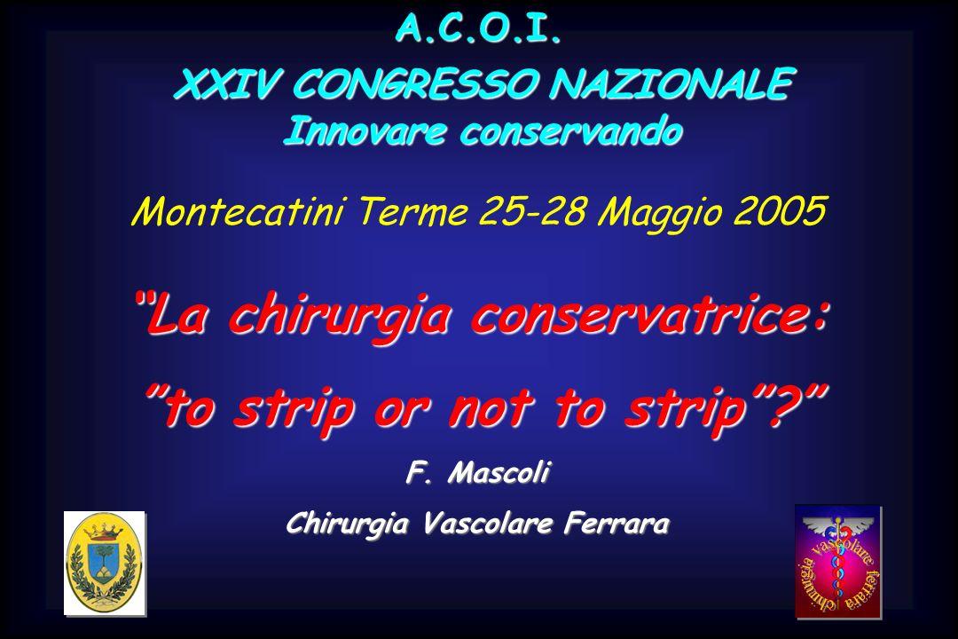 XXIV CONGRESSO NAZIONALE Innovare conservando A.C.O.I. Montecatini Terme 25-28 Maggio 2005 La chirurgia conservatrice: to strip or not to strip? F. Ma