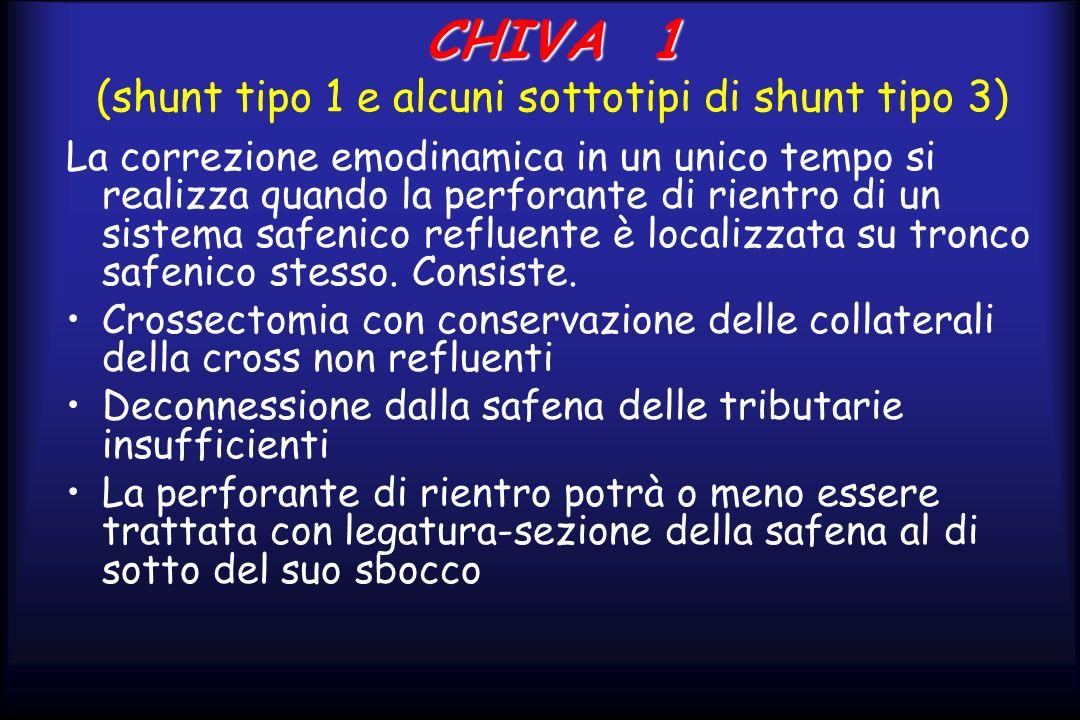CHIVA 1 CHIVA 1 (shunt tipo 1 e alcuni sottotipi di shunt tipo 3) La correzione emodinamica in un unico tempo si realizza quando la perforante di rien