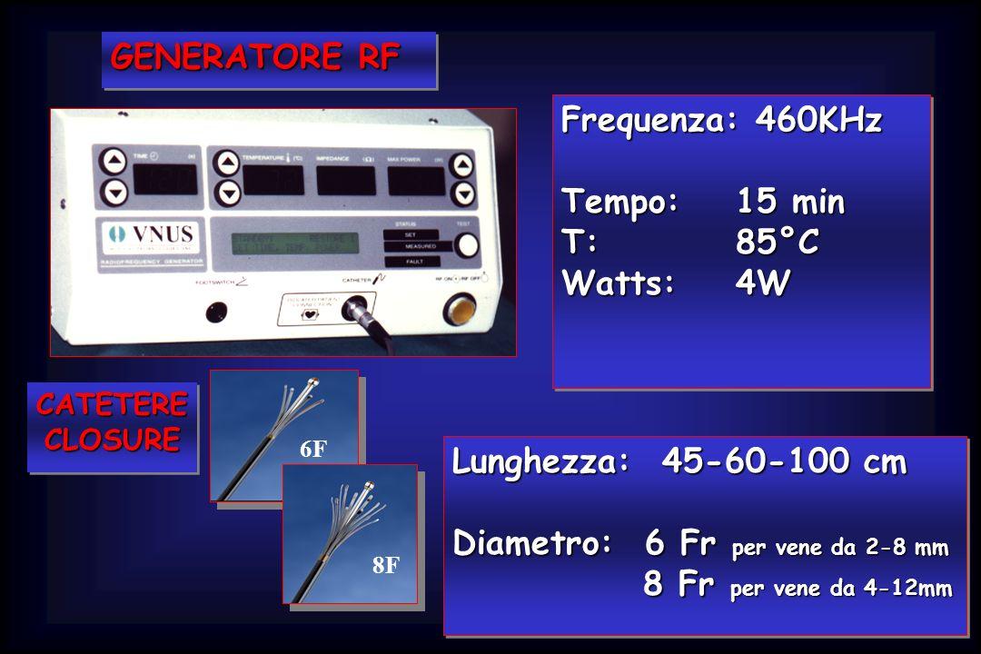 GENERATORE RF Frequenza: 460KHz Tempo:15 min T: 85°C Watts:4W Frequenza: 460KHz Tempo:15 min T: 85°C Watts:4W Lunghezza: 45-60-100 cm Diametro: 6 Fr p