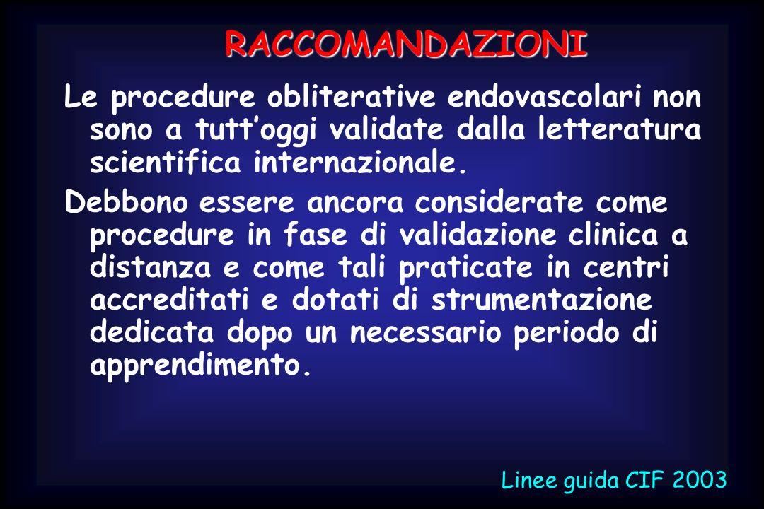 Le procedure obliterative endovascolari non sono a tuttoggi validate dalla letteratura scientifica internazionale. Debbono essere ancora considerate c