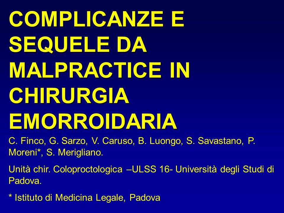 COMPLICANZE E SEQUELE DA MALPRACTICE IN CHIRURGIA EMORROIDARIA C. Finco, G. Sarzo, V. Caruso, B. Luongo, S. Savastano, P. Moreni*, S. Merigliano. Unit