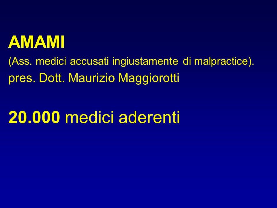 AMAMI (Ass. medici accusati ingiustamente di malpractice). pres. Dott. Maurizio Maggiorotti 20.000 medici aderenti