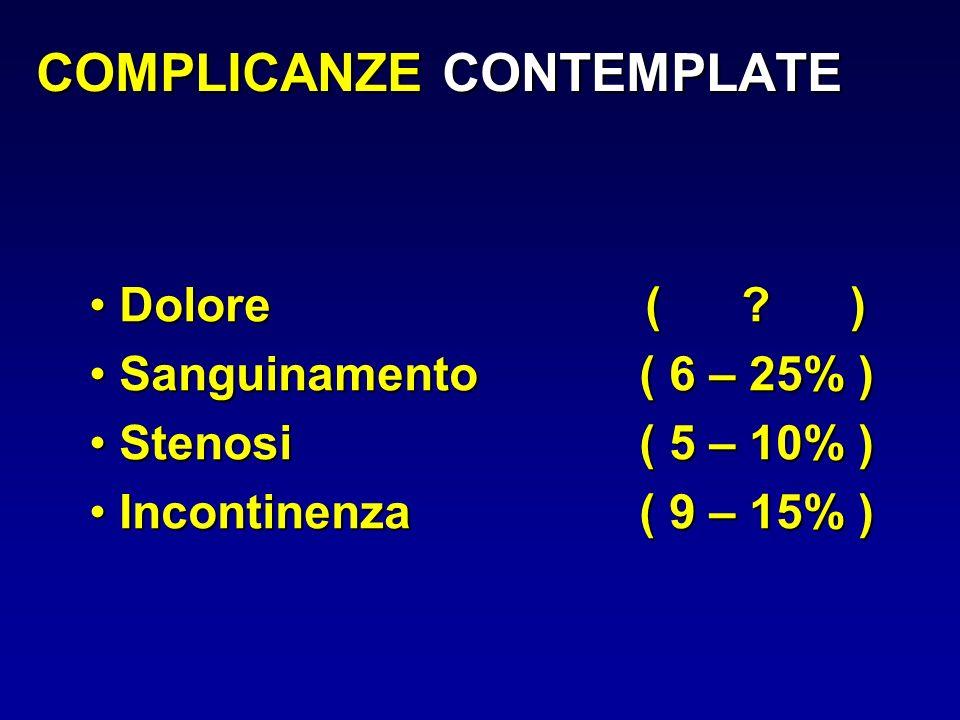 COMPLICANZE CONTEMPLATE Dolore ( ? ) Dolore ( ? ) Sanguinamento ( 6 – 25% ) Sanguinamento ( 6 – 25% ) Stenosi ( 5 – 10% ) Stenosi ( 5 – 10% ) Incontin