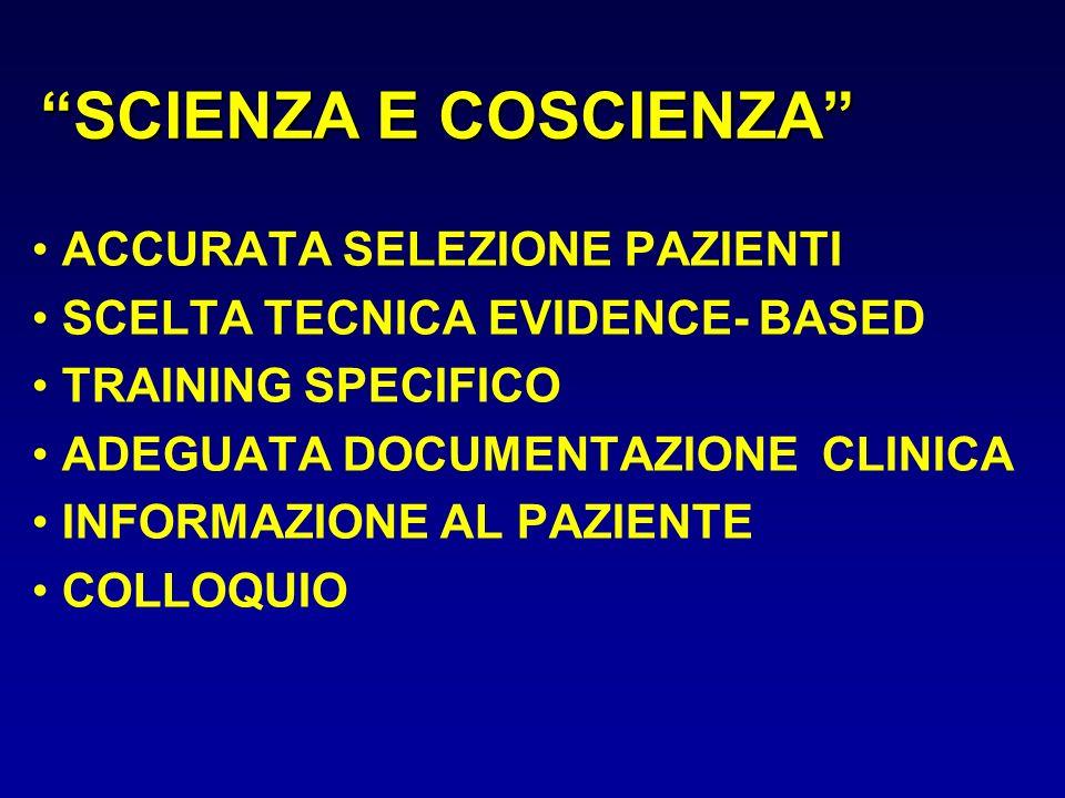 SCIENZA E COSCIENZA ACCURATA SELEZIONE PAZIENTI SCELTA TECNICA EVIDENCE- BASED TRAINING SPECIFICO ADEGUATA DOCUMENTAZIONE CLINICA INFORMAZIONE AL PAZI
