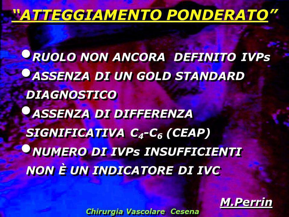 RUOLO NON ANCORA DEFINITO IVPs ASSENZA DI UN GOLD STANDARD DIAGNOSTICO ASSENZA DI DIFFERENZA SIGNIFICATIVA C 4 -C 6 (CEAP) NUMERO DI IVPs INSUFFICIENT