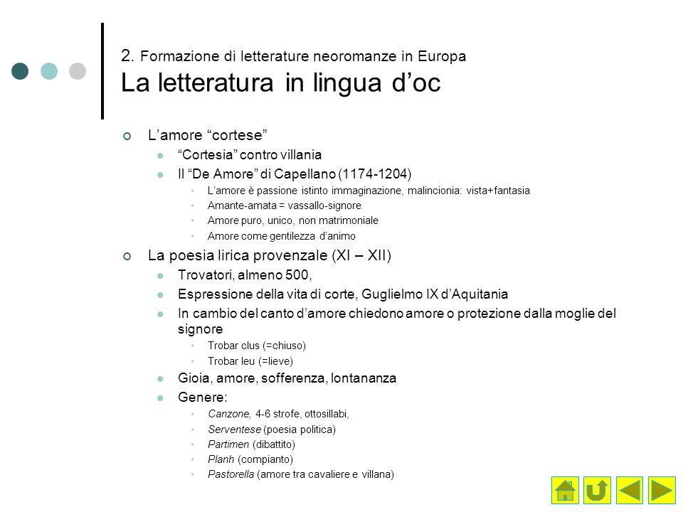 2. Formazione di letterature neoromanze in Europa La letteratura in lingua doc Lamore cortese Cortesia contro villania Il De Amore di Capellano (1174-