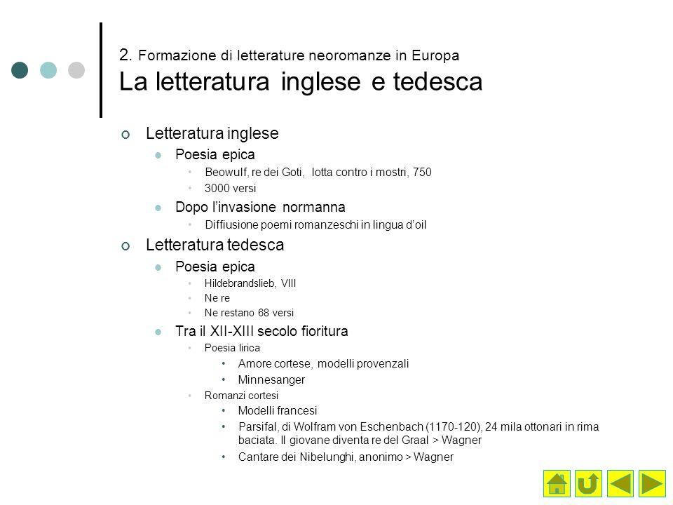 2. Formazione di letterature neoromanze in Europa La letteratura inglese e tedesca Letteratura inglese Poesia epica Beowulf, re dei Goti, lotta contro