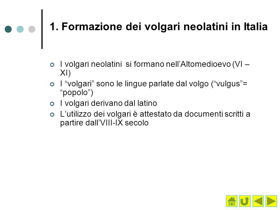 1. Formazione dei volgari neolatini in Italia I volgari neolatini si formano nellAltomedioevo (VI – XI) I volgari sono le lingue parlate dal volgo (vu