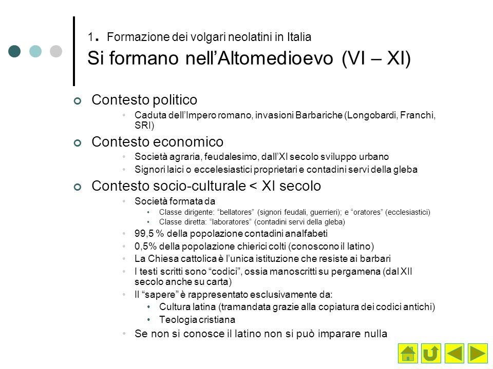 1. Formazione dei volgari neolatini in Italia Si formano nellAltomedioevo (VI – XI) Contesto politico Caduta dellImpero romano, invasioni Barbariche (
