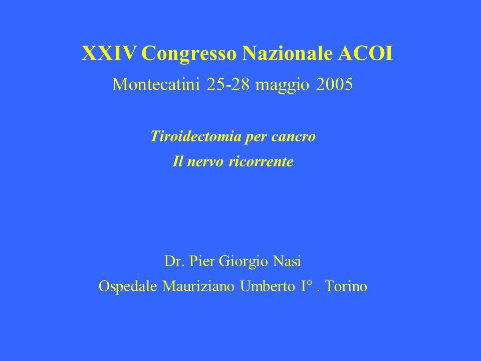 XXIV Congresso Nazionale ACOI Montecatini 25-28 maggio 2005 Tiroidectomia per cancro Il nervo ricorrente Dr. Pier Giorgio Nasi Ospedale Mauriziano Umb