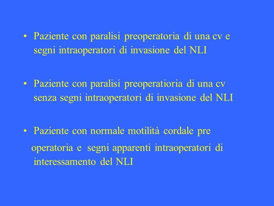 Paziente con paralisi preoperatoria di una cv e segni intraoperatori di invasione del NLI Paziente con paralisi preoperatioria di una cv senza segni i