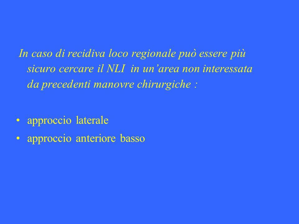 In caso di recidiva loco regionale può essere più sicuro cercare il NLI in unarea non interessata da precedenti manovre chirurgiche : approccio latera