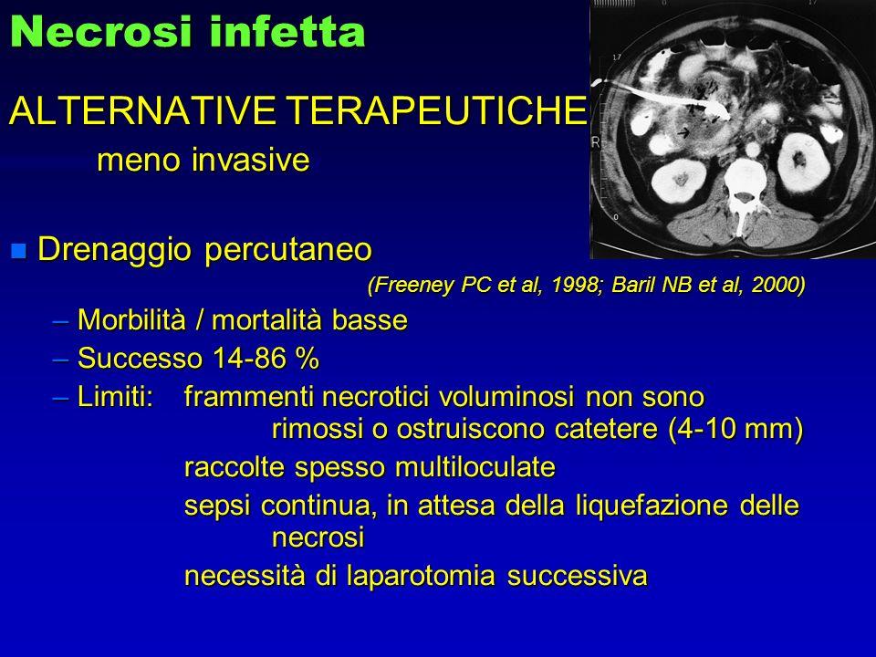 Necrosi infetta ALTERNATIVE TERAPEUTICHE meno invasive n Drenaggio percutaneo (Freeney PC et al, 1998; Baril NB et al, 2000) – Morbilità / mortalità b