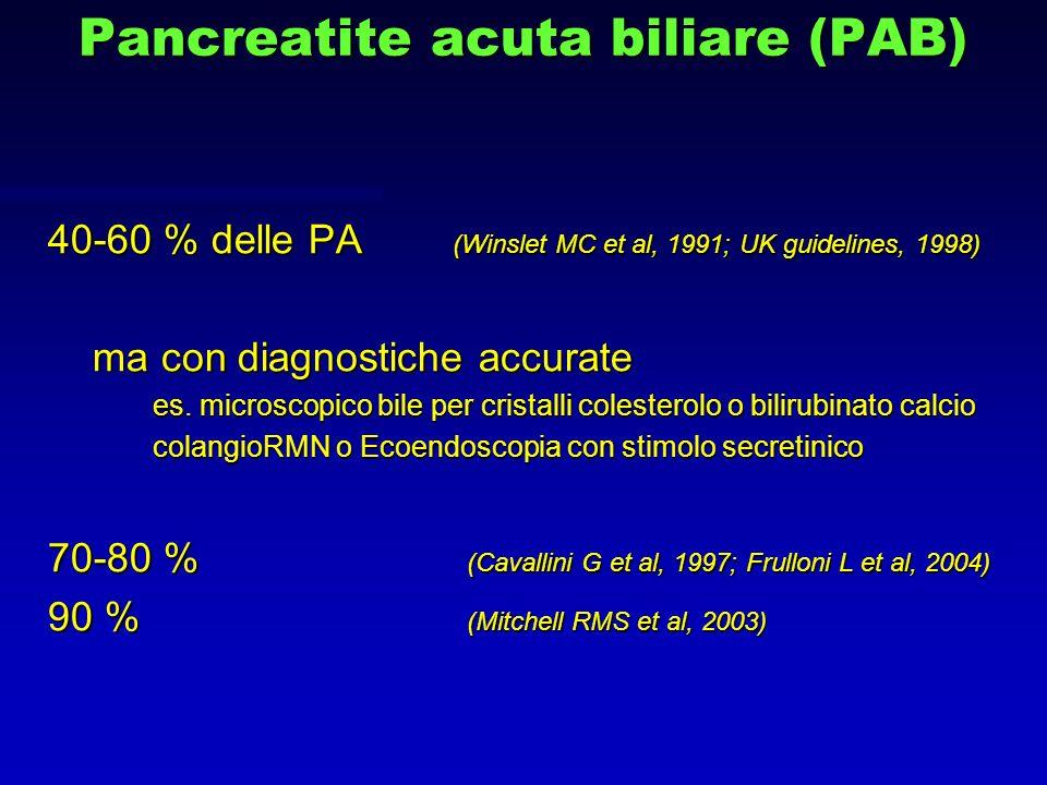 Pancreatite acuta biliare (PAB) 40-60 % delle PA (Winslet MC et al, 1991; UK guidelines, 1998) ma con diagnostiche accurate ma con diagnostiche accura