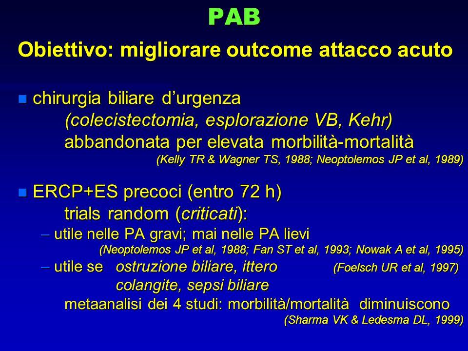 PAB Obiettivo: migliorare outcome attacco acuto n chirurgia biliare durgenza (colecistectomia, esplorazione VB, Kehr) abbandonata per elevata morbilit