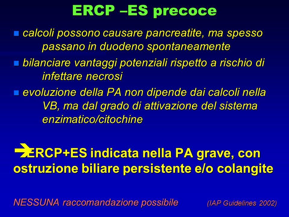 ERCP –ES precoce n calcoli possono causare pancreatite, ma spesso passano in duodeno spontaneamente n bilanciare vantaggi potenziali rispetto a rischi