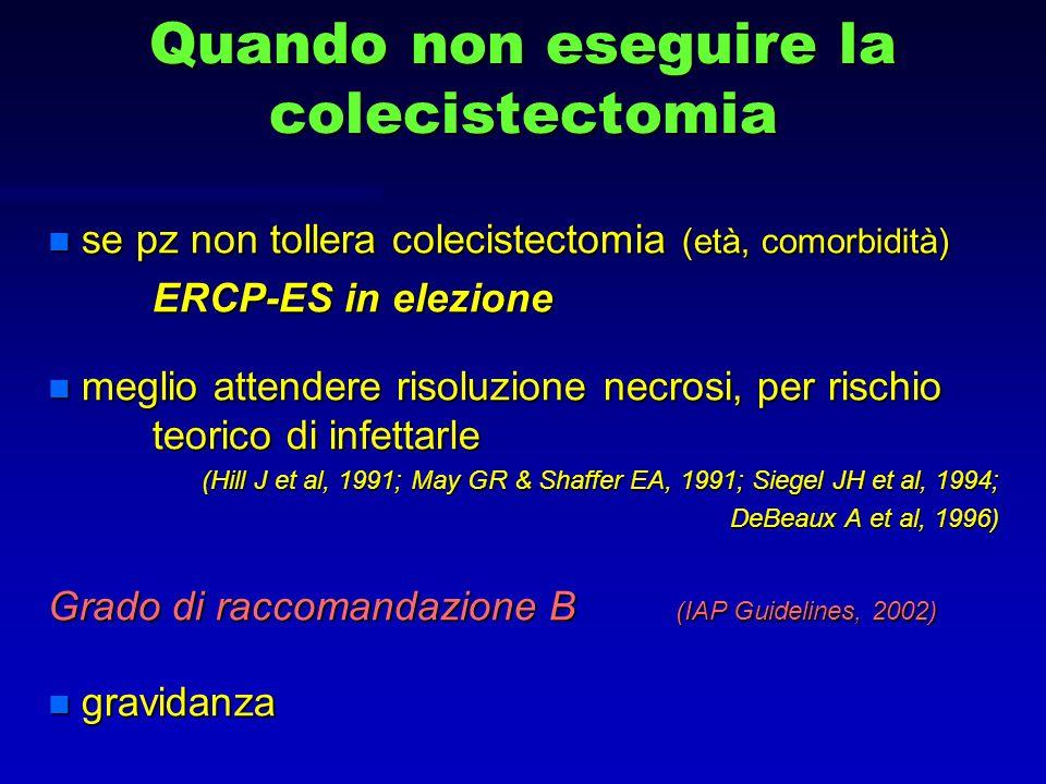 Quando non eseguire la colecistectomia n se pz non tollera colecistectomia (età, comorbidità) ERCP-ES in elezione ERCP-ES in elezione n meglio attende