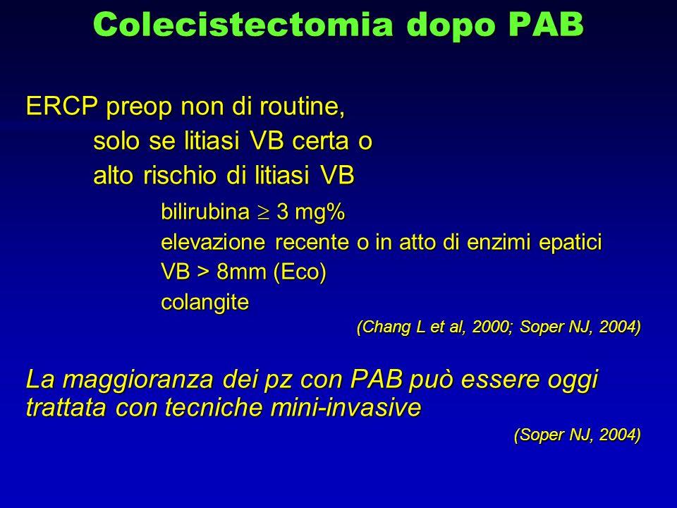 Colecistectomia dopo PAB ERCP preop non di routine, solo se litiasi VB certa o alto rischio di litiasi VB bilirubina 3 mg% elevazione recente o in att