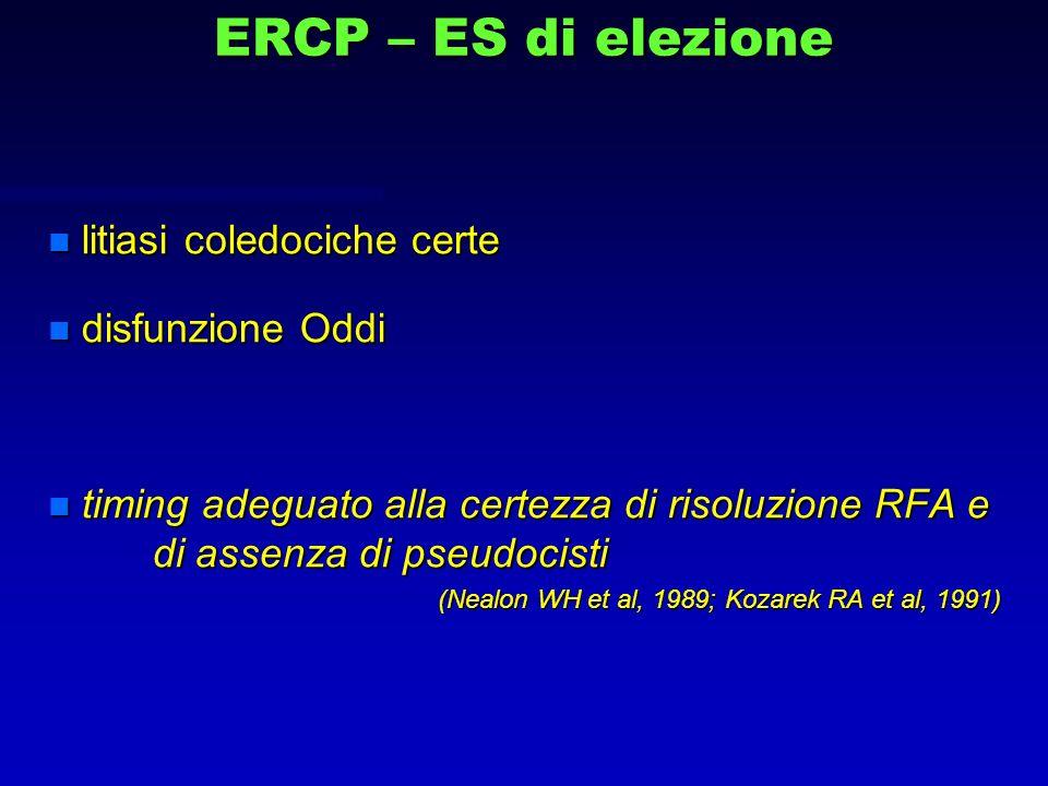 ERCP – ES di elezione n litiasi coledociche certe n disfunzione Oddi n timing adeguato alla certezza di risoluzione RFA e di assenza di pseudocisti (N