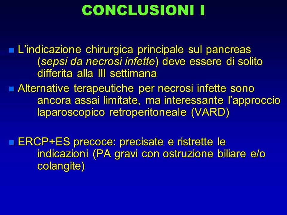 CONCLUSIONI I n Lindicazione chirurgica principale sul pancreas (sepsi da necrosi infette) deve essere di solito differita alla III settimana n Altern