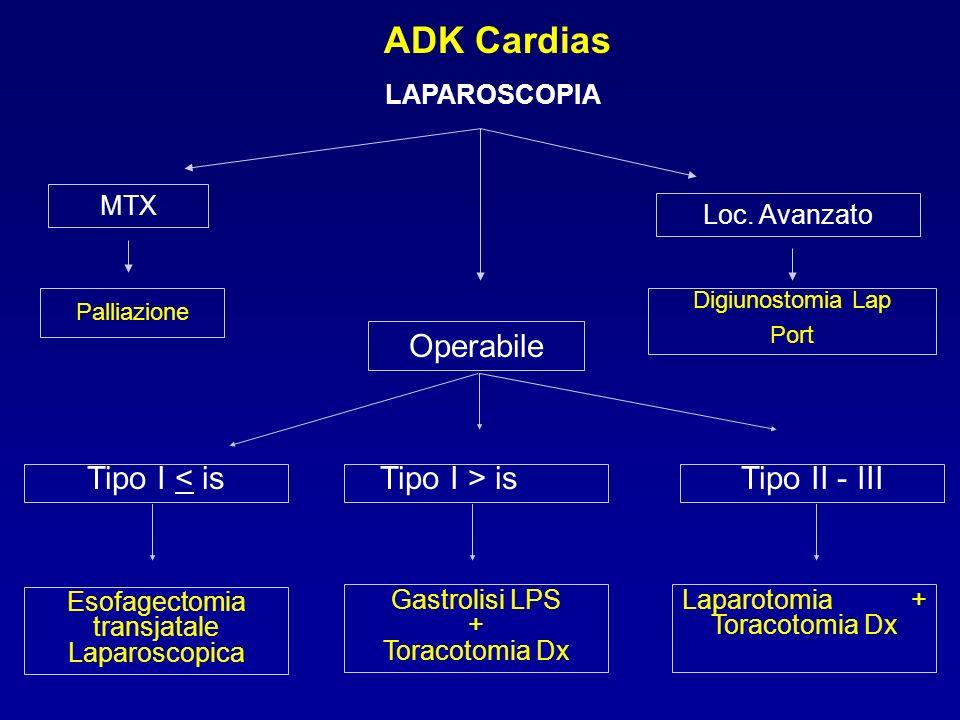 ADK Cardias LAPAROSCOPIA MTX Loc. Avanzato Operabile Digiunostomia Lap Port Palliazione Tipo II - IIITipo I > isTipo I < is Esofagectomia transjatale