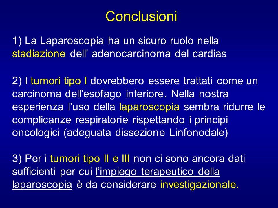 Conclusioni 1) La Laparoscopia ha un sicuro ruolo nella stadiazione dell adenocarcinoma del cardias 2) I tumori tipo I dovrebbero essere trattati come