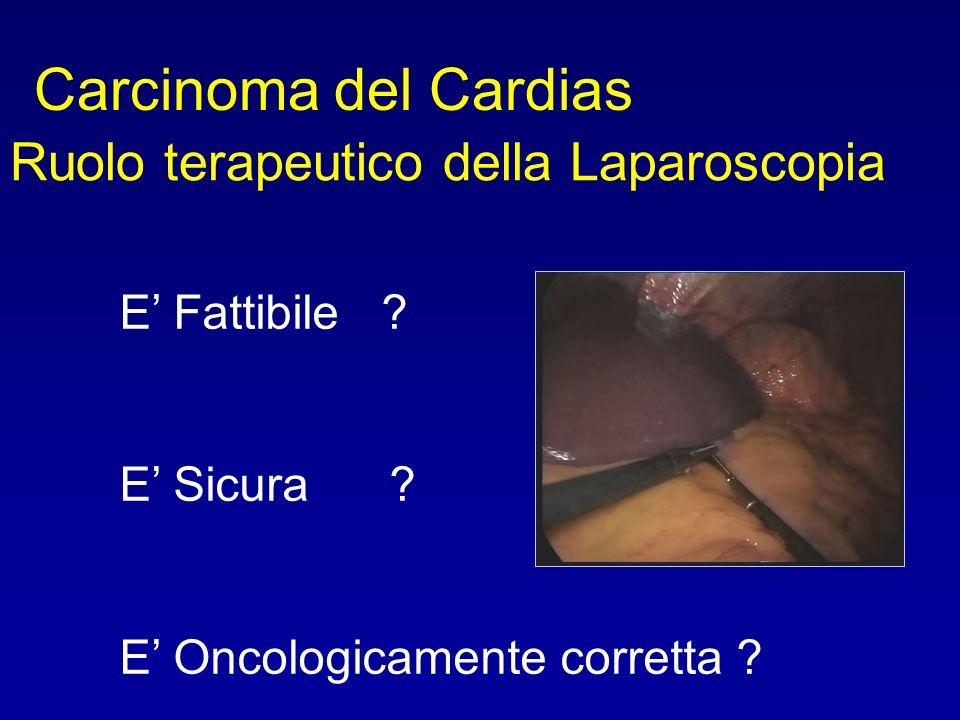 Carcinoma del Cardias Ruolo terapeutico della Laparoscopia E Fattibile ? E Sicura ? E Oncologicamente corretta ?