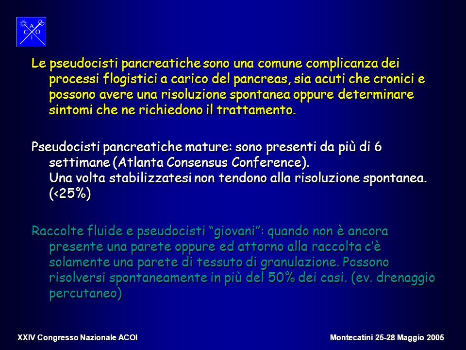 Le pseudocisti pancreatiche sono una comune complicanza dei processi flogistici a carico del pancreas, sia acuti che cronici e possono avere una risol