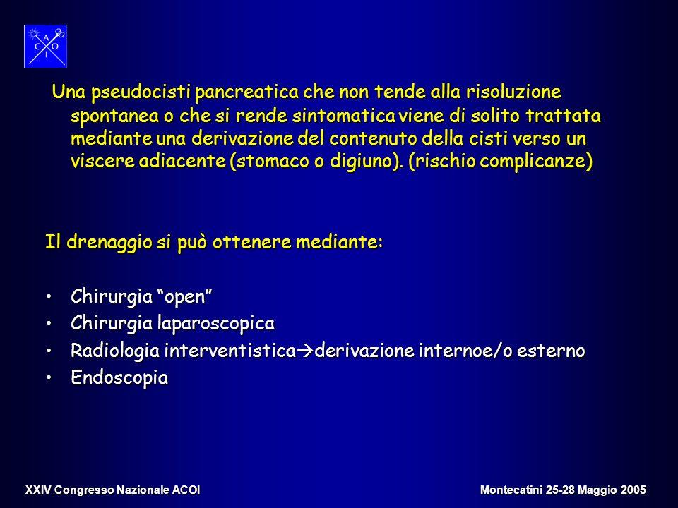 Una pseudocisti pancreatica che non tende alla risoluzione spontanea o che si rende sintomatica viene di solito trattata mediante una derivazione del
