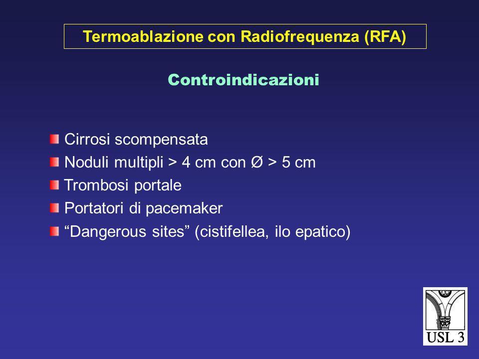 1 a 3 noduli Singolo Nodulo < 3-5 cm Noduli Multipli < 3 cm Assenza o minor malattia extraepatica Malattia epatica non resecabile Indicazioni Termoabl