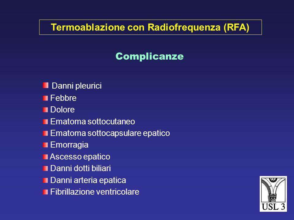 Anestesia generale Noduli epatici superficiali Segmenti antero-inferiori (3°- 4°- 5°- 6°) Eco sonda laparoscopica: migliore sensibilità RFA Laparoscop