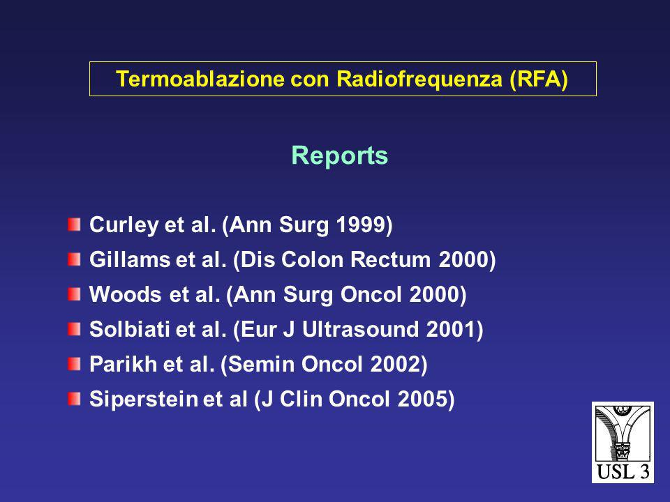 Reports Rossi et al (AJR 1996) 11 pt (13 MTX 1-9 cm Ø) follow-up mediano 22.6 mesi: 90% pz vivi 18% recidiva locale 64% malattia peristente o a distan