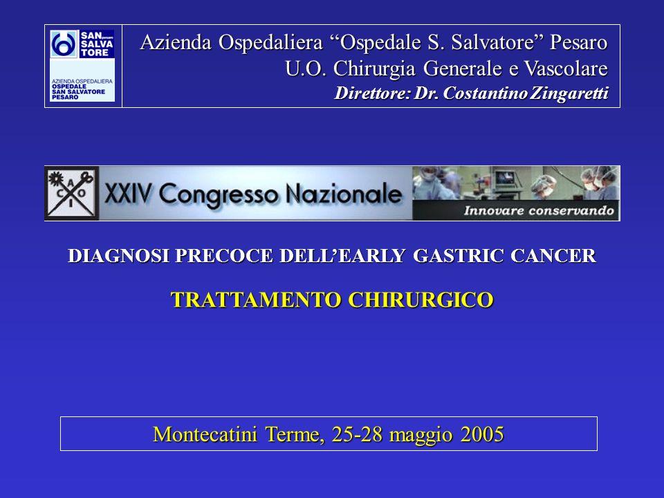 TRATTAMENTO CHIRURGICO DELL EARLY GASTRIC CANCER NOSTRA ESPERIENZA Lug 1997 – Apr 2005 CHIRURGIA GENERALE e VASCOLARE RESEZIONE RO79.3% MORTALITA GLOBALE (339pz): 2,4% (8 pz) 5 complicanze non correlate- 2 embolie polmonari (1 GEA M+ / 1 GRS T3N+) - 1 IMA (GT T2N0) - 1 MOF ( GRS T3N+ urg.
