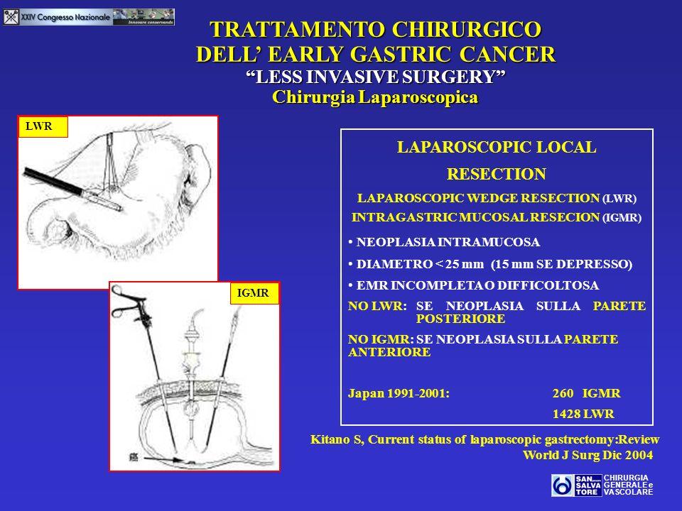 TRATTAMENTO CHIRURGICO DELL EARLY GASTRIC CANCER LESS INVASIVE SURGERY Chirurgia Laparoscopica CHIRURGIA GENERALE e VASCOLARE LAPAROSCOPIC LOCAL RESEC