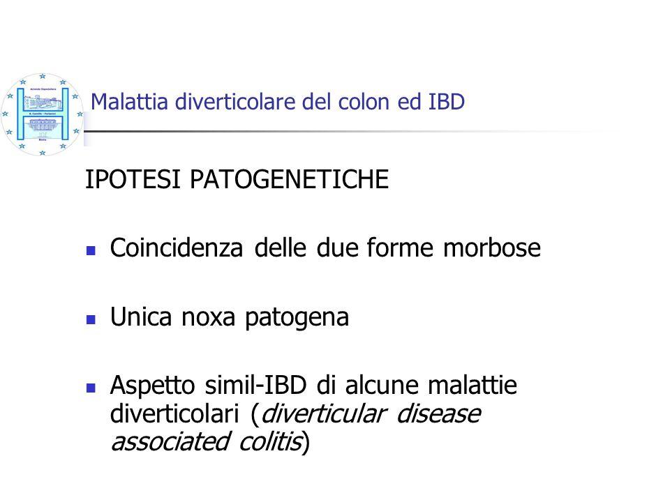 Malattia diverticolare del colon ed IBD IPOTESI PATOGENETICHE Coincidenza delle due forme morbose Unica noxa patogena Aspetto simil-IBD di alcune mala