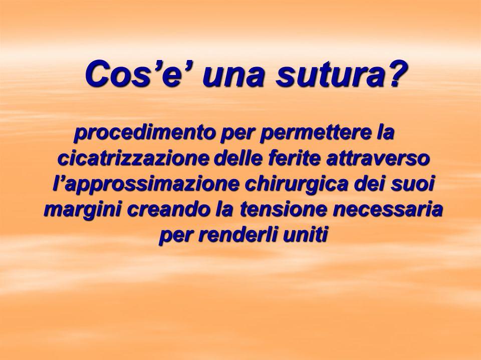 Cose una sutura? procedimento per permettere la cicatrizzazione delle ferite attraverso lapprossimazione chirurgica dei suoi margini creando la tensio