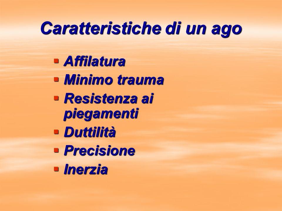 Caratteristiche di un ago Affilatura Affilatura Minimo trauma Minimo trauma Resistenza ai piegamenti Resistenza ai piegamenti Duttilità Duttilità Prec