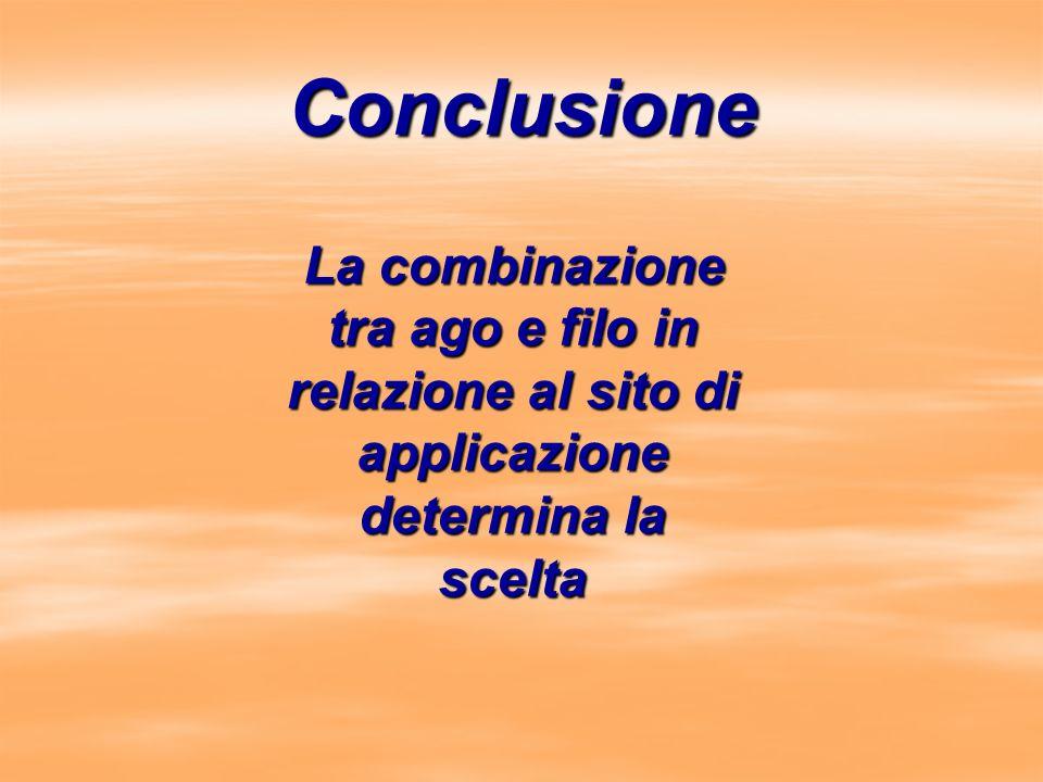 Conclusione La combinazione tra ago e filo in relazione al sito di applicazione determina la scelta La combinazione tra ago e filo in relazione al sit