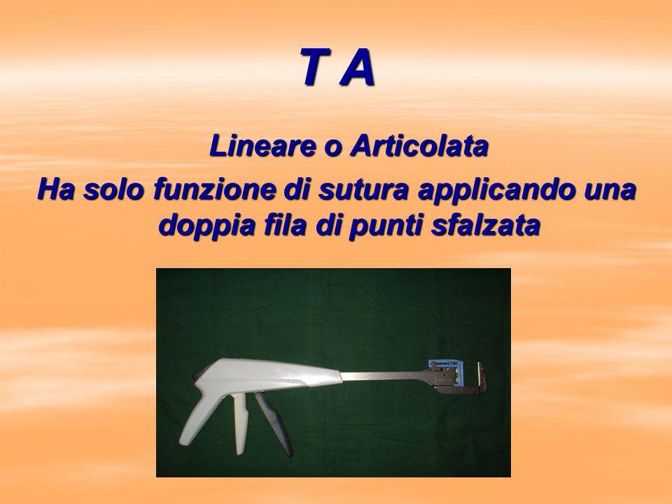T A Lineare o Articolata Lineare o Articolata Ha solo funzione di sutura applicando una doppia fila di punti sfalzata