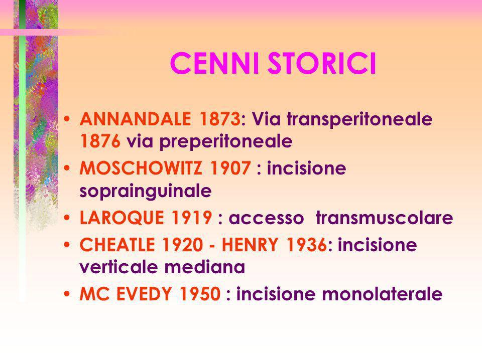 CENNI STORICI ANNANDALE 1873: Via transperitoneale 1876 via preperitoneale MOSCHOWITZ 1907 : incisione soprainguinale LAROQUE 1919 : accesso transmusc