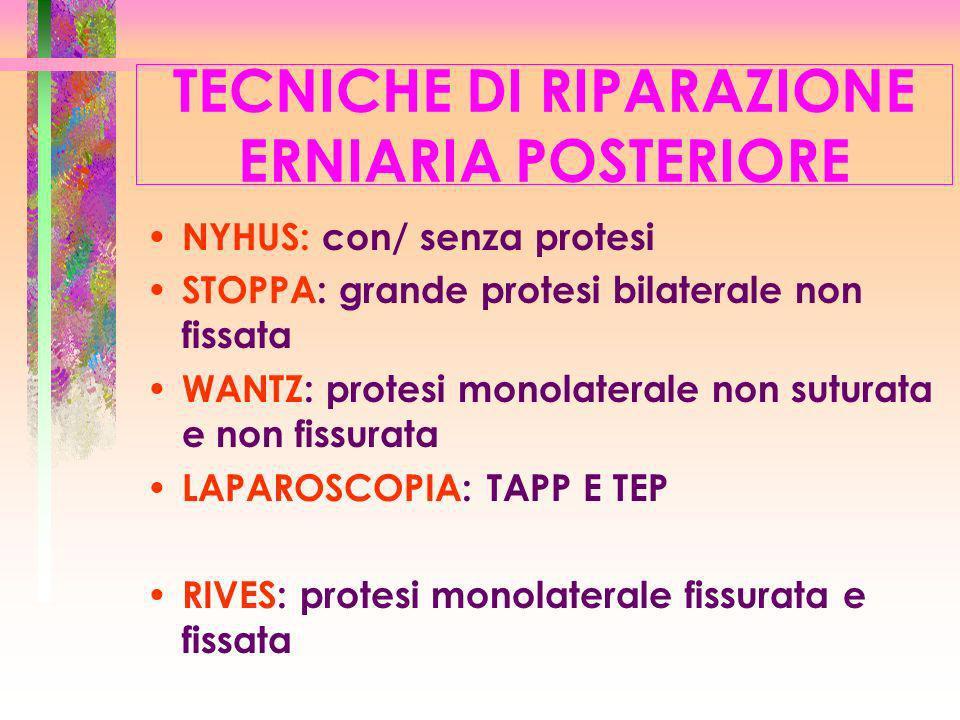 TECNICHE DI RIPARAZIONE ERNIARIA POSTERIORE NYHUS: con/ senza protesi STOPPA: grande protesi bilaterale non fissata WANTZ: protesi monolaterale non su