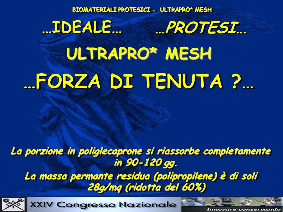 BIOMATERIALI PROTESICI - ULTRAPRO* MESH …IDEALE… …PROTESI… ULTRAPRO* MESH La porzione in poliglecaprone si riassorbe completamente in 90-120 gg.