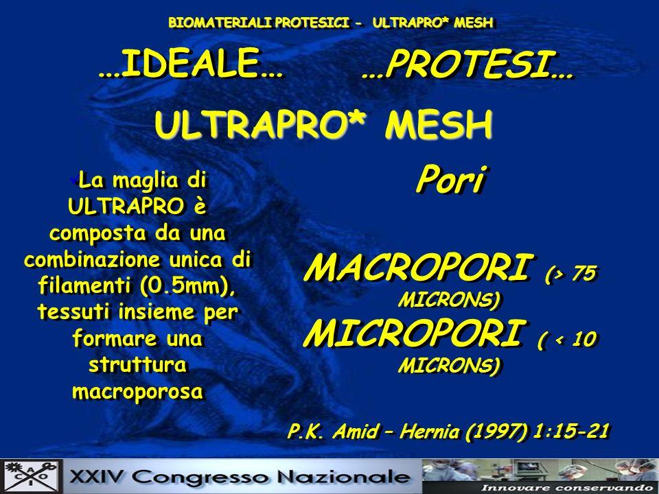 BIOMATERIALI PROTESICI - ULTRAPRO* MESH …IDEALE… …PROTESI… ULTRAPRO* MESH La maglia di ULTRAPRO è composta da una combinazione unica di filamenti (0.5