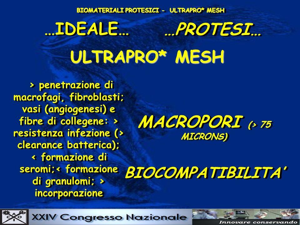 BIOMATERIALI PROTESICI - ULTRAPRO* MESH …IDEALE… …PROTESI… ULTRAPRO* MESH > penetrazione di macrofagi, fibroblasti; vasi (angiogenesi) e fibre di collegene: > resistenza infezione (> clearance batterica); incorporazione > penetrazione di macrofagi, fibroblasti; vasi (angiogenesi) e fibre di collegene: > resistenza infezione (> clearance batterica); < formazione di seromi;< formazione di granulomi; > incorporazione MACROPORI (> 75 MICRONS) MACROPORI (> 75 MICRONS) BIOCOMPATIBILITA BIOCOMPATIBILITA