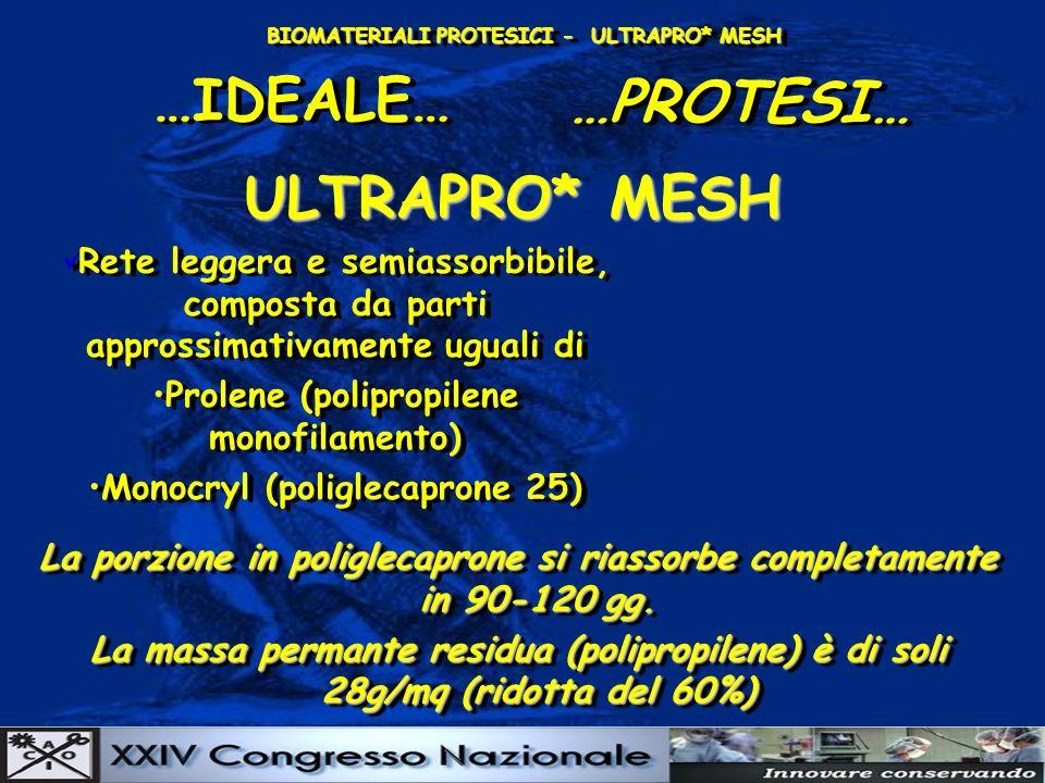 BIOMATERIALI PROTESICI - ULTRAPRO* MESH …IDEALE… …PROTESI… ULTRAPRO* MESH Rete leggera e semiassorbibile, composta da parti approssimativamente uguali di Prolene (polipropilene monofilamento) Monocryl (poliglecaprone 25) Rete leggera e semiassorbibile, composta da parti approssimativamente uguali di Prolene (polipropilene monofilamento) Monocryl (poliglecaprone 25) La porzione in poliglecaprone si riassorbe completamente in 90-120 gg.