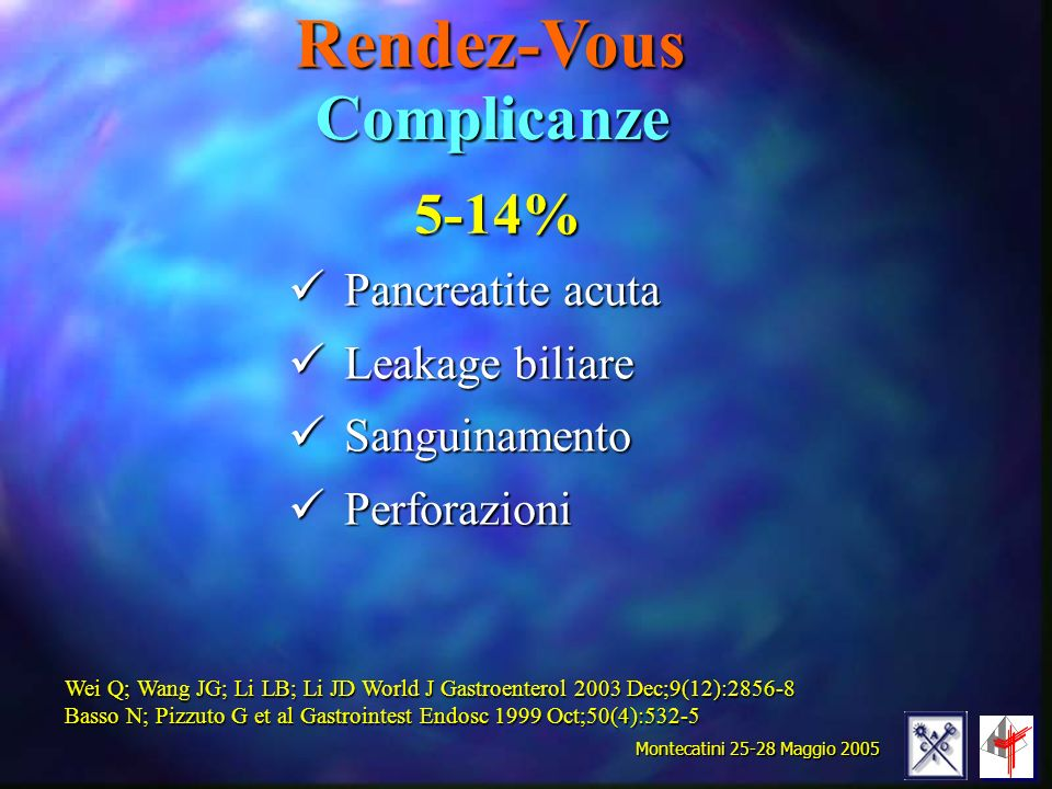 Rendez-Vous Pancreatite acuta Leakage biliare Sanguinamento Perforazioni Complicanze Wei Q; Wang JG; Li LB; Li JD World J Gastroenterol 2003 Dec;9(12)