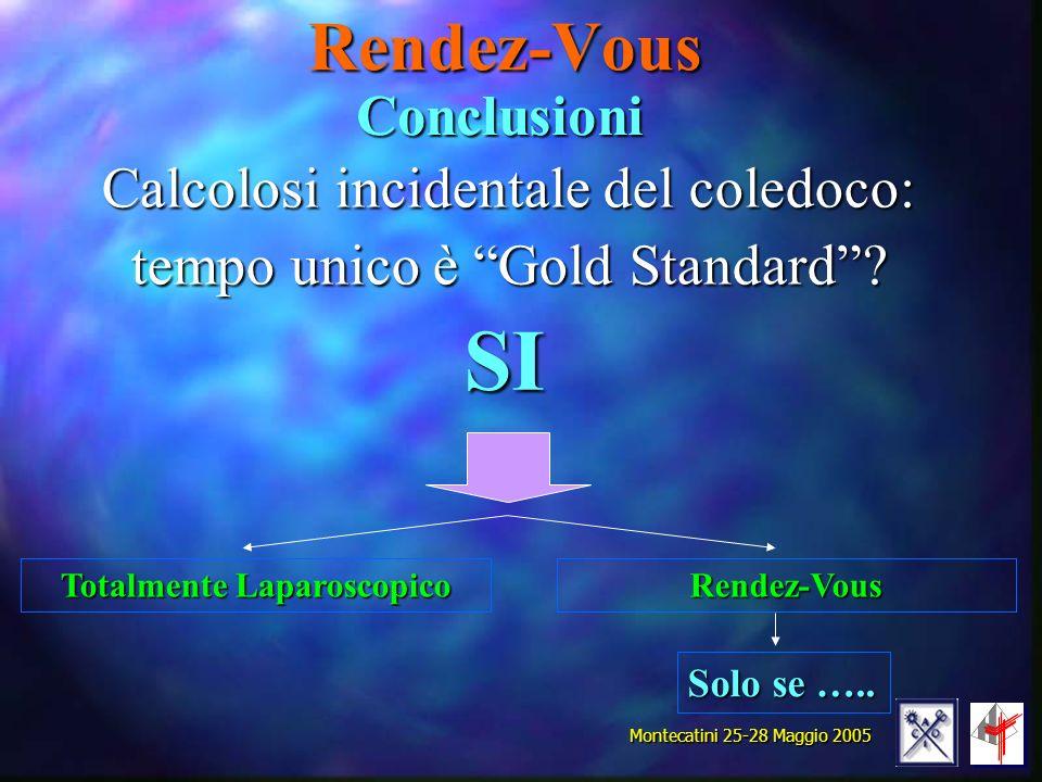 Rendez-Vous Calcolosi incidentale del coledoco: tempo unico è Gold Standard? Montecatini 25-28 Maggio 2005 Conclusioni SI Totalmente Laparoscopico Ren