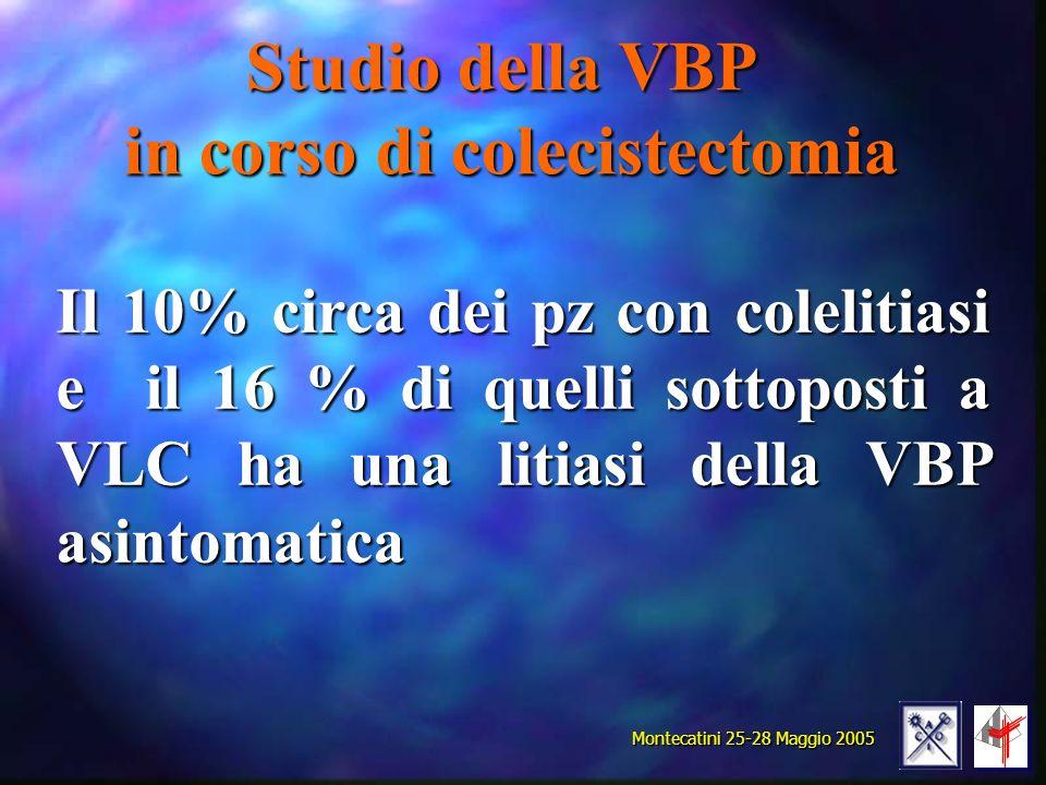 Studio della VBP in corso di colecistectomia Il 10% circa dei pz con colelitiasi e il 16 % di quelli sottoposti a VLC ha una litiasi della VBP asintomatica Montecatini 25-28 Maggio 2005